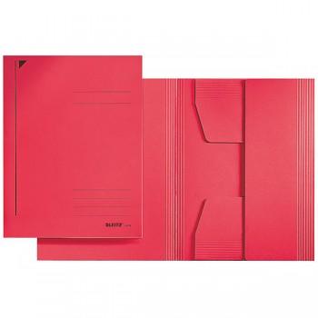 Kartonové desky se 3 chlopněmi bez gumiček Leitz,A4 červená DOPRODEJ!