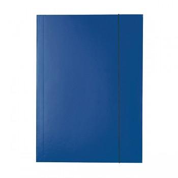 Lesklé kartonové desky se 3 chlopněmi a svislou gumičkou Tmavě modrá