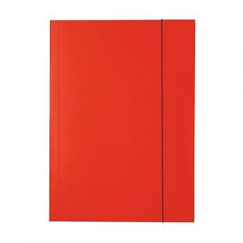 Lesklé kartonové desky se 3 chlopněmi a svislou gumičkou Červená