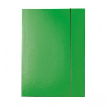 Lesklé kartonové desky se 3 chlopněmi a svislou gumičkou Zelená