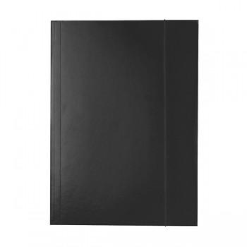 Lesklé kartonové desky se 3 chlopněmi a svislou gumičkou Černá