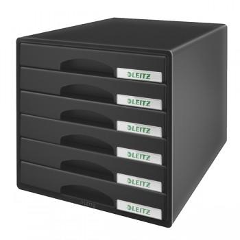 Zásuvkový box Leitz Plus 6 zásuvek Černá