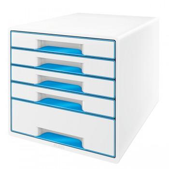 Stolní kostka Leitz WOW s 5 zásuvkami Metalická modrá