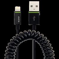 Lightning na USB stočený kabel Leitz Complete, 1 m