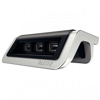 USB nabíječka Leitz Style s 3 porty Saténově černá