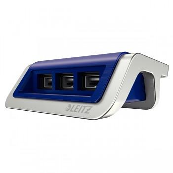 USB nabíječka Leitz Style s 3 porty Titanově modrá