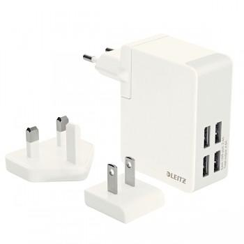 Cestovní USB nabíječka se 4 porty Leitz Complete Bílá