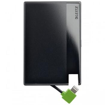 Záložní baterie velikosti kreditní karty s Lightning kabelem Leitz Complete,  1350mAh Černá