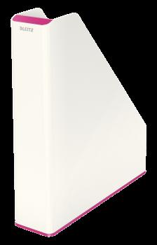 Dvoubarevný stojan na katalogy Leitz WOW růžovo-bílý