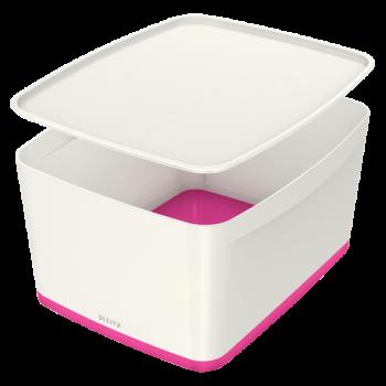 Úložný box s víkem Leitz MyBox®, velikost M růžový