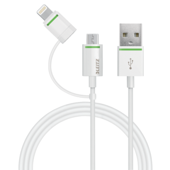 Lightning  kabel Leitz Complete s redukcí na Micro USB, 1 m Bílá