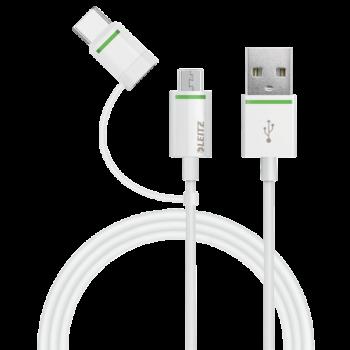 USB-C kabel Leitz Complete s redukcí na Micro USB, 1 m Bílá